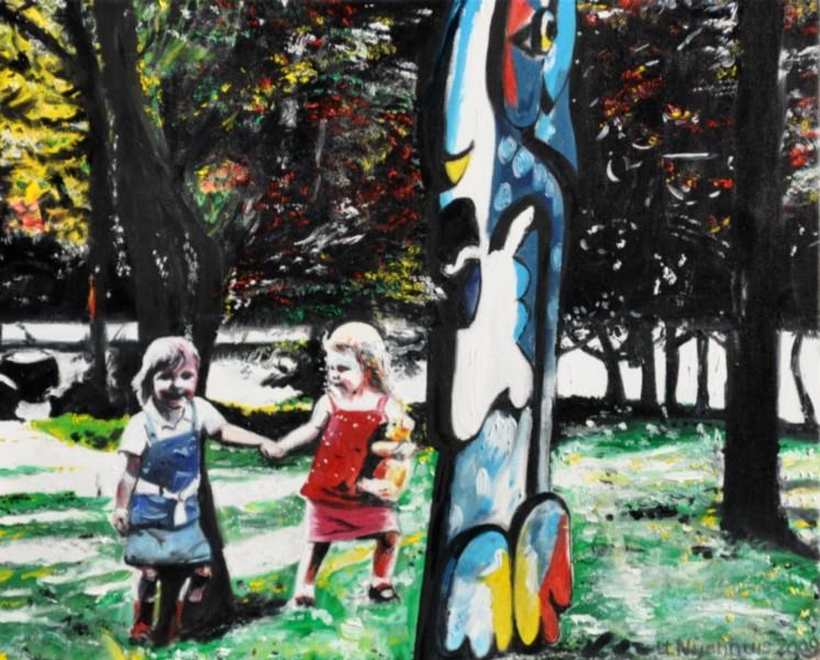 Frei laufende Kinder im Zoo Münster, Gemälde